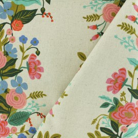 Cotton + Steel cotton canvas fabric - Rifle Paper Blue Garden Vines x 10cm