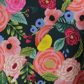 Cotton + Steel cotton canvas fabric - Rifle Paper Green Juliet Rose x 10cm