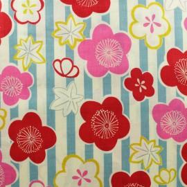 Tissu coton Kokka Ume Kaede - bleu x 10cm