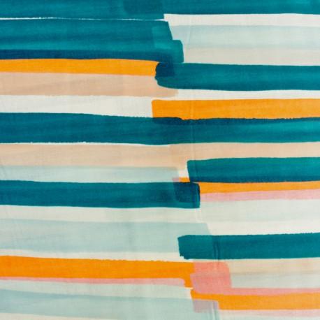 Tissu Double Gaze de coton Kokka Grace - bleu x 10cm