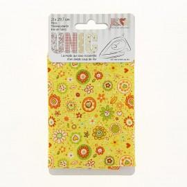 Tissu thermocollant petites fleurs et cœurs jaunes