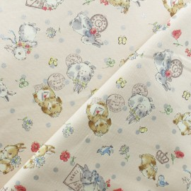 Kokka cotton canvas fabric - Light Pink Sweet Bunnies x 10cm