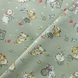 Kokka cotton canvas fabric - Grey Sweet Bunnies x 10cm