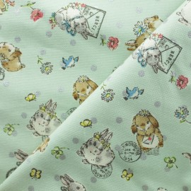 Kokka cotton canvas fabric - light green Sweet Bunnies x 10cm