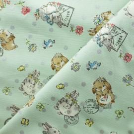 Tissu Toile de Coton Kokka Sweet Bunnies - vert x 10cm