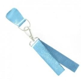 Patte Mousqueton cuir métallisé Bleu