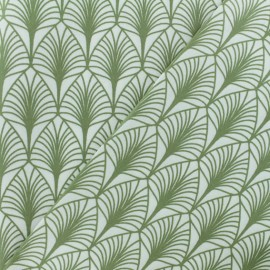 Coated cretonne cotton fabric - white/olive green leaf x 10cm