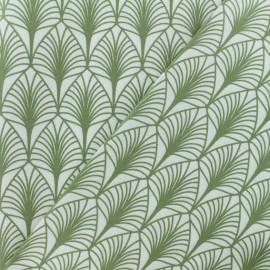 Tissu coton crétonne enduit Leaf - blanc/olive x 10cm
