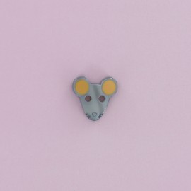 12 mm Frou-Frou Polyester Button - Grey Mouse