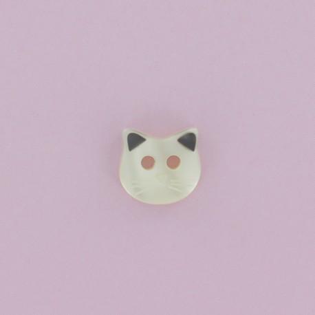 11 mm Frou-Frou Polyester Button - Ecru Cat