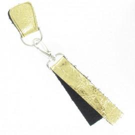 Patte Mousqueton cuir métallisé doré jaune