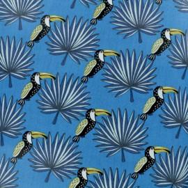 Cretonne cotton fabric - blue Mambo x 10cm