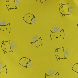 Cotton jersey fabric - Mustard yellow Sparkling cat x 10cm