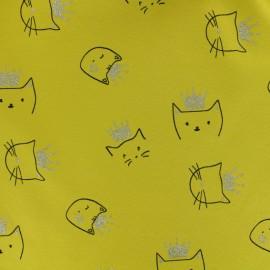 Tissu jersey Sparkling cat - jaune moutarde x 10cm