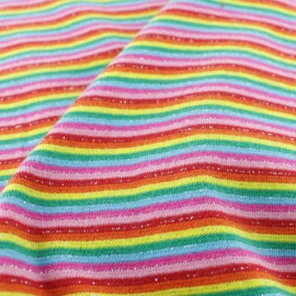 Tissu jersey tubulaire fines rayures lurex - Arc en ciel x 10cm