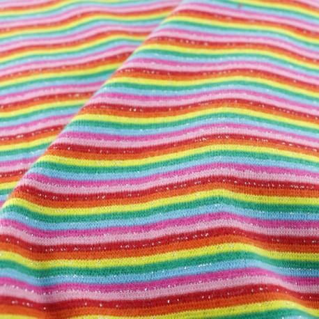 Tubular Jersey fabric - Purple/pink fine Stripes x 10 cm