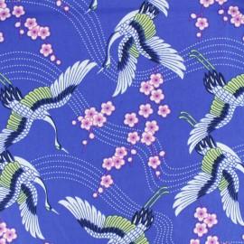 *Coupon tissu 60 cm X 140 cm* coton popeline grue majestueuse - bleu