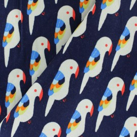 Milleraies velvet fabric - Navy blue Parrot x10cm
