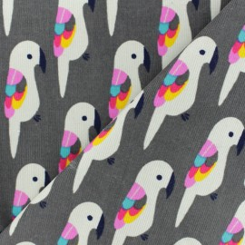 Tissu velours milleraies Perroquet - gris x 10cm