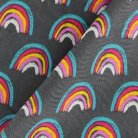 Tissu velours milleraies Rainbow - gris x 10cm