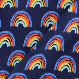 Milleraies velvet fabric - grey Rainbow x10cm