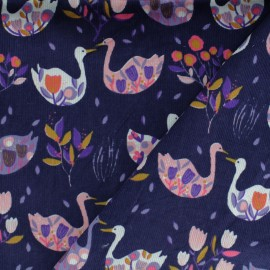 *Coupon tissu 120 cm X 140 cm* velours milleraies Duck garden -violet