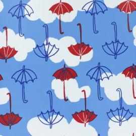 Tissu enduit spécial ciré Parapluie - bleu x 10cm