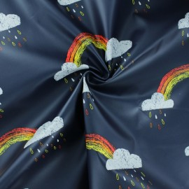 Special rain waterproof fabric - Deep blue Rainy day x 10cm