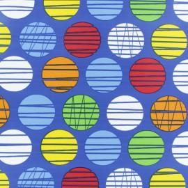 Tissu enduit spécial ciré Polka - bleu x 10cm