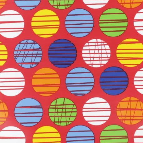 Tissu enduit spécial ciré Polka - rouge x 10cm
