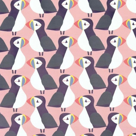 Special rain waterproof fabric - pink Puffin x 10cm