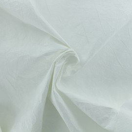 Crinkled paper aspect waterproof fabric - White x 10cm