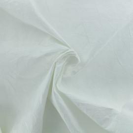 Tissu enduit froissé façon papier - blanc x 10cm