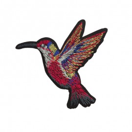 Lurex Humming--Bird Iron-On Patch - Red