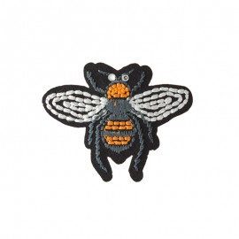 Lurex Worker Bee Iron-On Patch - Black