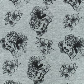 Tissu jersey Flower skull - gris chiné x 10cm