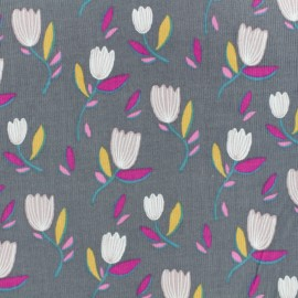 Milleraies velvet fabric - grey Garden x10cm