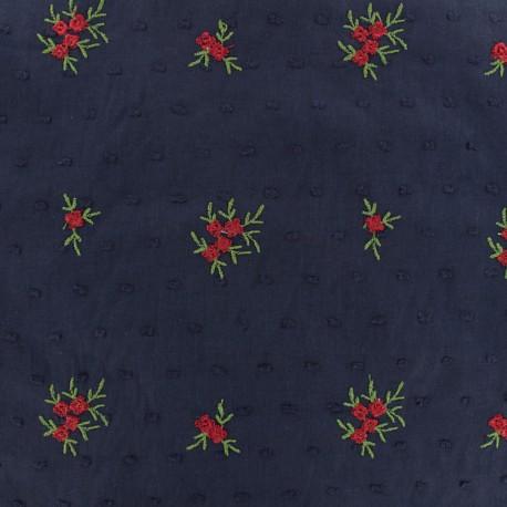 Tissu voile de coton plumetis brodé - marine x 10cm