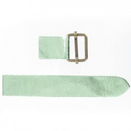 Leather strap with sliding bar adjuster buckle - metallic almond