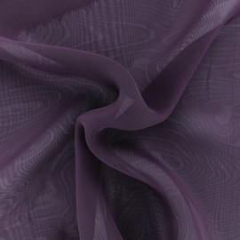 Tissu mousseline crêpe - Aubergine x 50cm