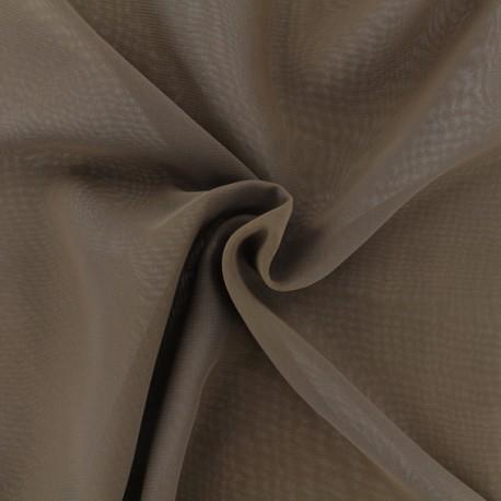 Tissu mousseline crêpe - marron x 50cm