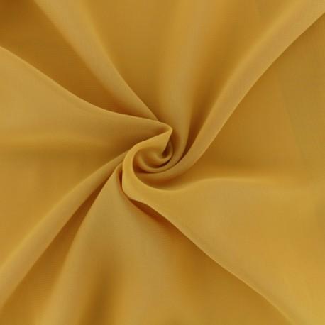 Tissu mousseline crêpe - jaune moutarde x 50cm