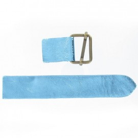 Leather strap with sliding bar adjuster buckle - metallic blue