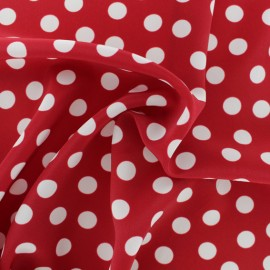 Dotted Polyester Crêpe Fabric - red/white x 50cm
