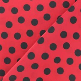 Tissu crêpe polyester à pois - rouge/blanc x 50cm