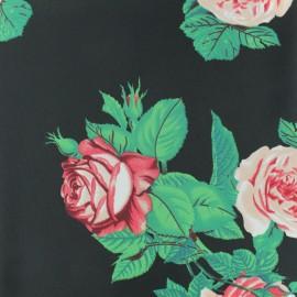 Tissu crêpe polyester à pois et fleurs - noir x 50cm