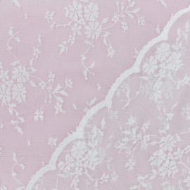 Scalloped Lace Fabric - white Paulina x 10cm