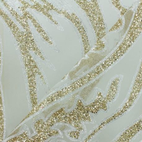 luxury flocked tulle fabric - Celadon Star x 10cm