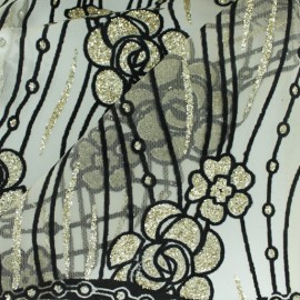 Glittery tulle fabric - Black/gold Priyanka x 50cm