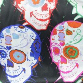 Print polyester satin fabric - black skull x 10cm